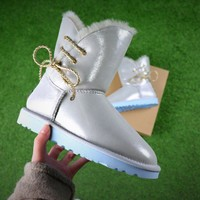 Best Online Sale UGG Waterproof Antifouling Fabric Butterfly Lace Silver Snow Boots