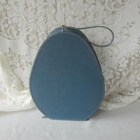 Vintage Oval Train Case , Accessories Case , Blue Zip Wig Case , Small Oval Suitcase with Strap , Vintage Luggage