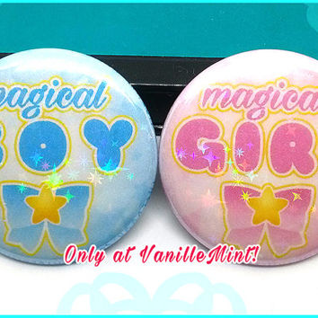 Magical Girl and Boy Holographic 1.5 inch Pins Set VanilleMint
