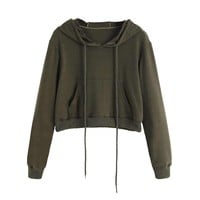 Army Green Drawstring Pouch Pocket Crop Hoodie