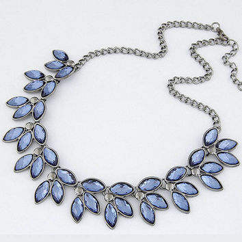 Blue Crystal  Statement Necklace Women Summer Style Black Chain Necklaces & Pendants Colar Jewelry For Gift Party