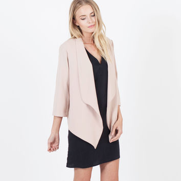 Celia Open Draped Blazer (Blush)