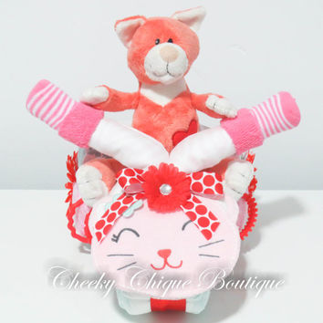 NEW Diaper Cake, Tricycle Diaper Cake, Trike, Baby Shower Gift, Centerpiece, Baby Cake, Baby Girl Gift, Kitty, Cat, Pet