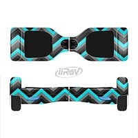 The Turquoise-Black-Gray Chevron Pattern Full-Body Skin Set for the Smart Drifting SuperCharged iiRov HoverBoard