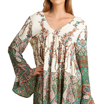 Umgee Green Mix Flower Print Peasant Dress Bell Sleeves