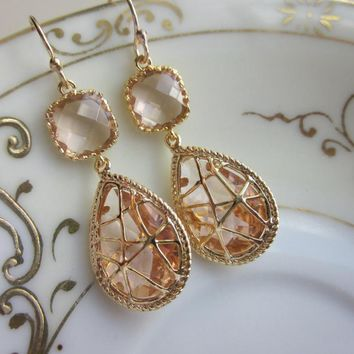 Champagne Peach Earrings Pink Gold .. on Luulla