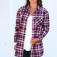 Plaid Love Flannel {Burgundy+Cream}