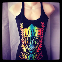 Ladies Triblend Neon LOVE, LlVE, LIFE Experience The Sunshine State California Tank Top