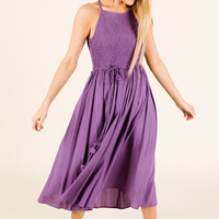 Smocked Midi Dress, Misty Purple