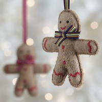 Felt Gingerman with Red Tie Ornament.