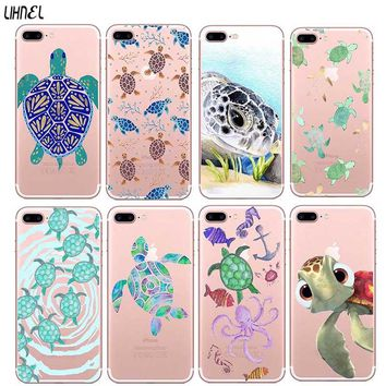 LIHNEL Cute Turtles Cartoon Crystal Clear Transparent TPU Back Shell Cover for iPhone X 5S 5 SE 6 6S Plus 7 7Plus 8 8Plus Case