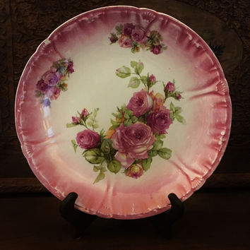 Franz Arnt Mehlem, Bonn Hand Painted Scalloped Porcelain Pink Rose Plate 1850-1900