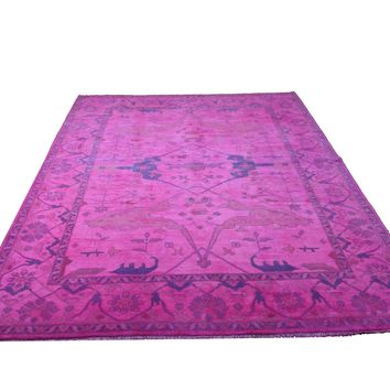 9x12 Ushak Overdyed Hot pink 100% Wool Oushak Rug 2932