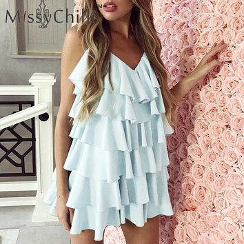 MissyChilli Chiffon ruffle backless short dress Women sleeveless sexy beach sundress Elegant