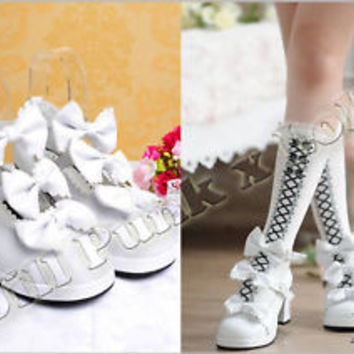 Lolita Baby Doll Bow Maid Scalloped Heel shoes 40 white