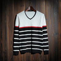 Men's Geometric Striped Comfortable V Neck Sweater