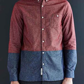 Native Youth Colorblock Flannel Button-Down Shirt- Maroon