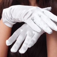 White Short Satin Gloves 1202