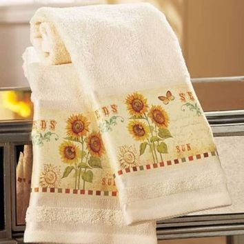 Set Of 2  Sunflower & Butterfly Bathroom Hand Towels Country Bath Decor