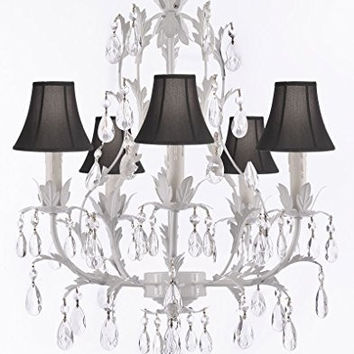 White Wrought Iron Floral Chandelier Lighting Crystal Chandeliers With Shades - G7-Sc/Blackshade/White/407/5