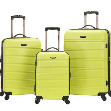 F160-LIME Melbourne 3 Pc Abs Luggage Set