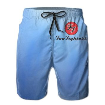 Foo Fighters Classic Logo Mens Fashion Casual Beach Shorts