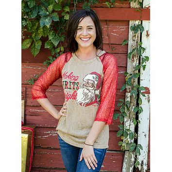Southern Grace Christmas Holiday Kids Making Spirts Bright Sequin Shirt for Women