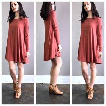 A Sleeved Potato Sack Dress in Rust