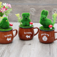 Lovely Pottery Cup Animal Mini Decoration Flocking Card Holder [6282790854]