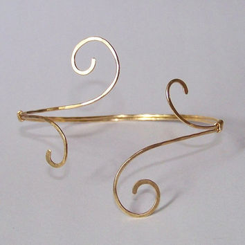 Gold Armlet - Upper Arm Cuff - Armlet - Gold Armband - Hammered Whisps in Brass Armband - Also Available in Copper