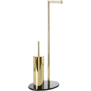 CP Bath Toilet Brush Holder and Toilet Paper Holder Set, Glass Base, Brass