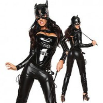 Sexy Catwoman Black PU Leather Womens Costume(L) - Default