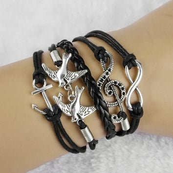 Antique Silver Infinity Double Birds Note Charms Leather Wrap Bracelet