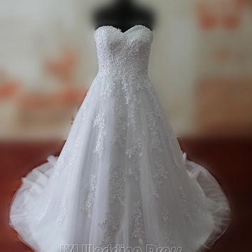 Real Samples Droped Waist Lace Wedding Dresses Lace-up Wedding Gowns Sweetheart Bridal Gowns Plus Size Bridal Dress