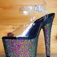 "Bejeweled 708MS Multi Rhinestone Platform 7"" Stiletto High Heel Shoes 8 9 10"