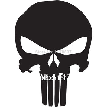 Punisher Skull Car Window Sticker For Truck SUV Bumper Door Laptop Motorcycle Helmet Funny Cool Graphical Vinyl Decal 8 Colors