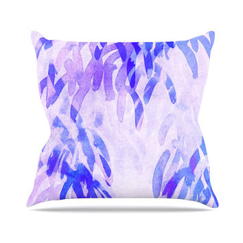 "Iris Lehnhardt ""Abstract Leaves III"" Blue Purple Throw Pillow"