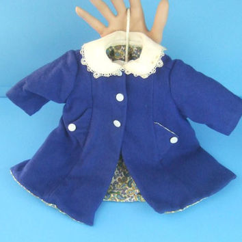 "1950s Vintage Doll's Blue Wool Coat / Size 22"" to 23"" Doll / Peter Pan Collar / Pearlized Buttons"