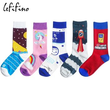 men cotton colorful happy winter long crew socks rainbow unicorn pink space sock novelty milk game funny socks women red Ne77430