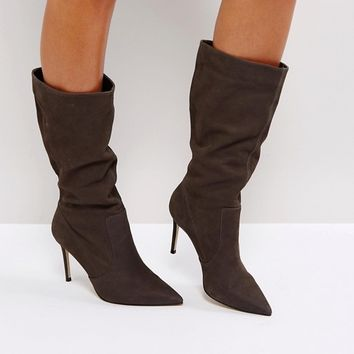 Carvela Special Gray Suede Slouch Heeled Ankle Boots at asos.com