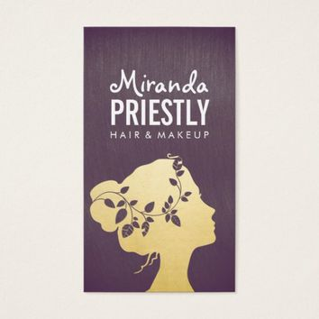 Makeup Artist Purple Gold Pretty Woman Silhouette Business Card