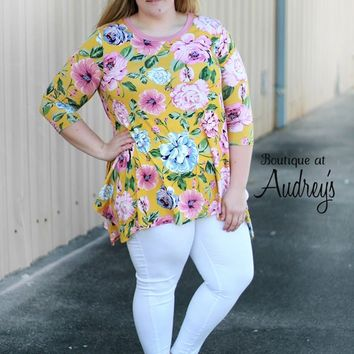 Mustard Plus Size Top with Pink and Blue Floral Print