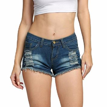 Sexy Casual Summer Mini Ripped Beach Women Denim Shorts Female Hot Jeans Short Pants Lady Low Waist Bermudas For Femme Feminine