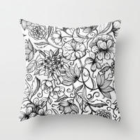 Hand drawn pencil floral pattern in black and white Throw Pillow by Micklyn
