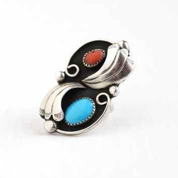 Sale - Vintage Sterling Silver Turquoise & Coral Ring - Size 7 Retro 1970s Native American Southwestern Leaf Blue Red Gem Statement Jewelry