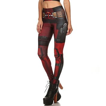 Elastic Digital Print Mid Waist Women Skinny Leggings
