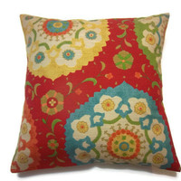 Two Red Yellow Orange Green Turquoise Blue Suzani Pillow Covers 18 inch Toss Throw Accent Covers Design on Both Sides