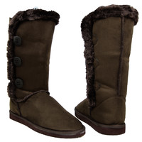 Womens Mid Calf Boots Faux Fur Trim Side Button Pull On Comfort Shoes Brown SZ