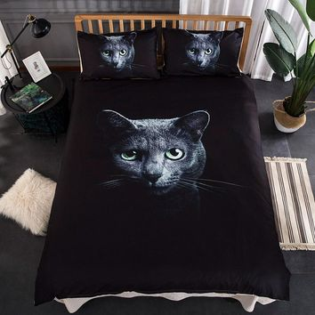 3D Cat Printed Bed Linen Bedding Set Comforter Bed Cover Quilt Duvet Cover Set Queen King Size Bedding Double Single Black Sheet
