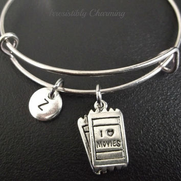 Sale.....I Love movies ticket bracelet, Stainless Steel Expandable Bangle, monogram personalized item No.234